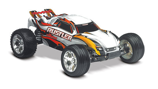 TRA37054-1 TRAXXAS RUSTLER 2WD STADIUM TRUCK, RTR, TQI 2.4 GHZ RADIO, BATTERY and 4 AMP D.C. CHARGER