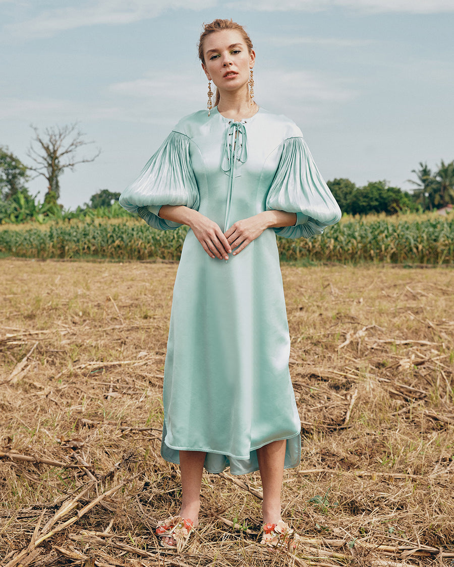 IRWF/20/18 - LACED-UP EYELET DETAILED TUNIC DRESS WITH PLISSÉ BLOUSON SLEEVES