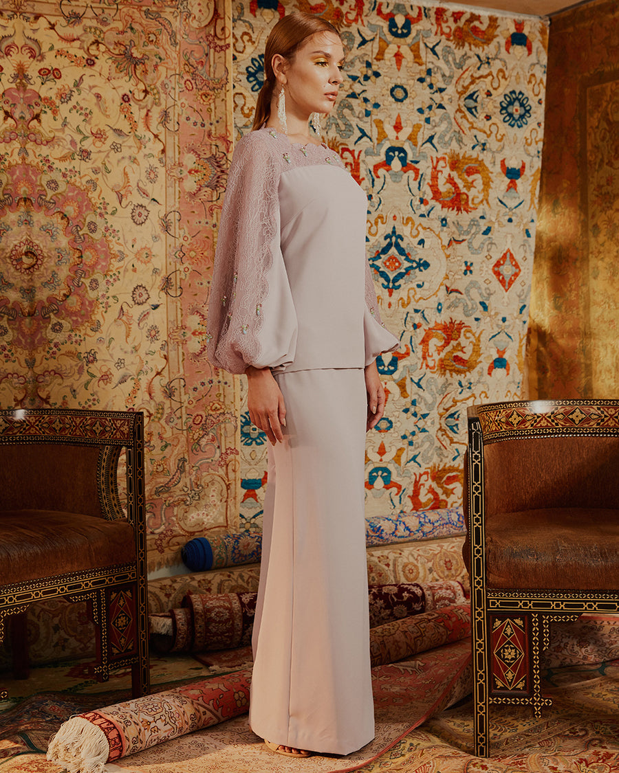SORAYA - MODERN KURUNG WITH SCALLOP LACE PANEL PUFF SLEEVES