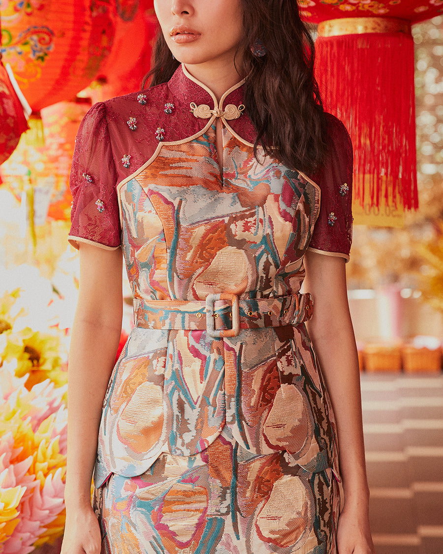 BIYU - LACE AND BRUSH STROKE BROCADE CHEONGSAM TOP AND SKIRT WITH DETACHABLE BELT