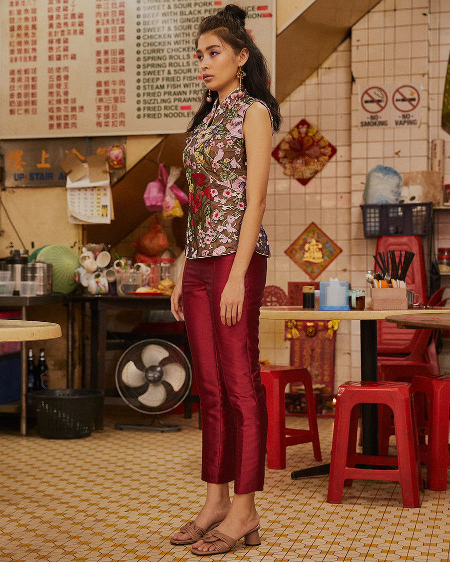 DAI YU - SLEEVELESS FLORAL LACE CHEONGSAM TOP