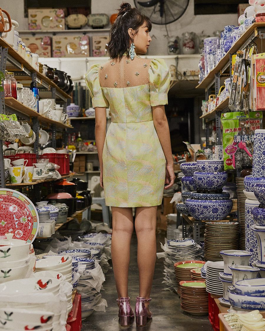 SHAN - TULIP CHEONGSAM IN TROPICAL LIME BROCADE