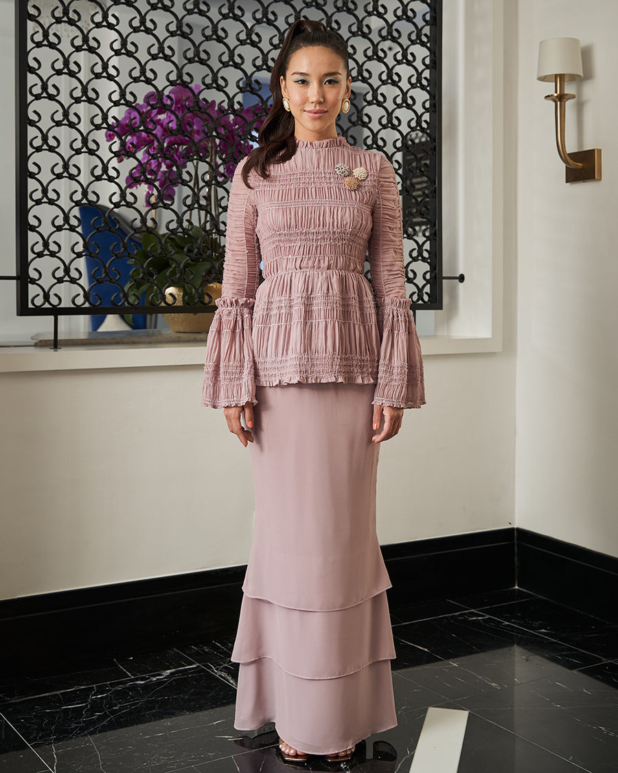 LAPIS - SMOCKED PEPLUM KURUNG WITH RUFFLE DETAILED NECKLINE AND TRUMPET SLEEVES