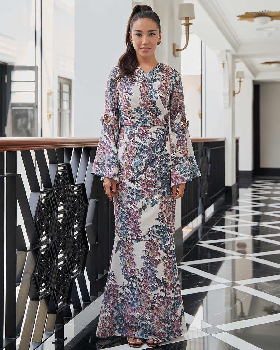 PUTERI MANDI - OVERLAP STYLE KURUNG WITH DRAPE AND BELL CUT SLEEVES IN MULTICOLOUR WISTERIA PRINT