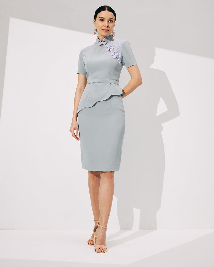 IRSS/21/06/04 - SCALLOP HEM CHEONGSAM TOP WITH CONTRAST COLOUR DETAILS AND PENCIL SKIRT