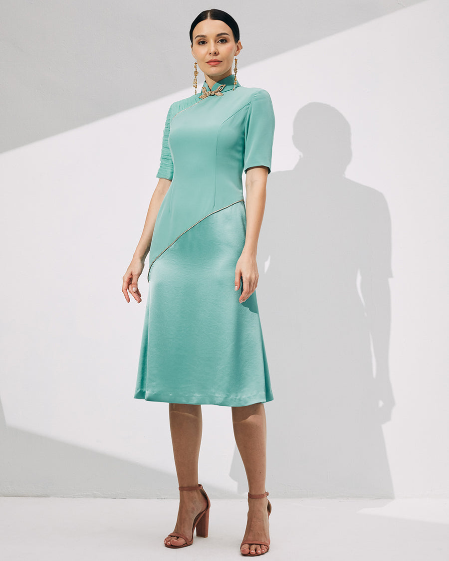 IRSS/21/14/01 - SEAFOAM CHEONGSAM WITH ASYMMETRIC SLEEVE DETAIL