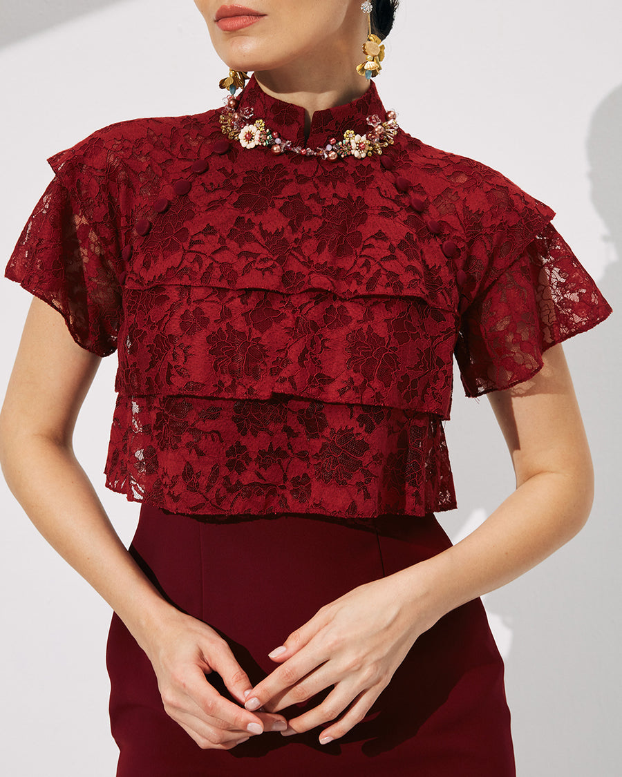 IRSS/21/18/01 - RED LACE CHEONGSAM WITH RUFFLE TIERS DETAILS