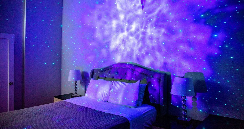 bed with relaxating galaxy lighting