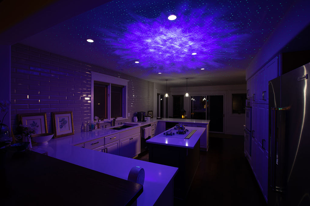 sky lite galaxy projector in kitchen