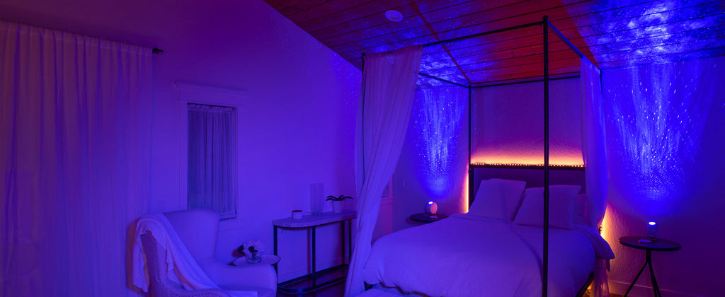 bedroom with two sky lite galaxy lights