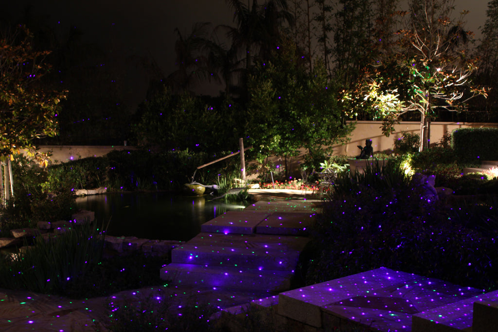 blue outdoor party lighting
