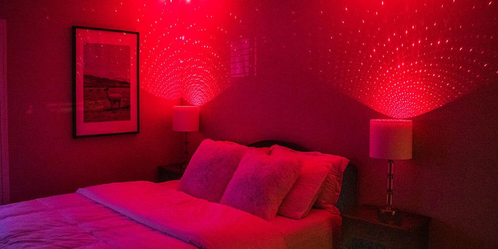 bedroom with red blissbulbs