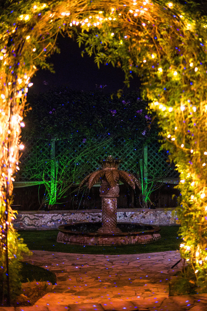fountain with energy efficient laser and led lights