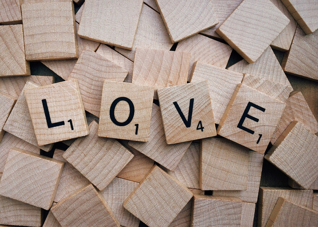 scrabble tiles that spell love