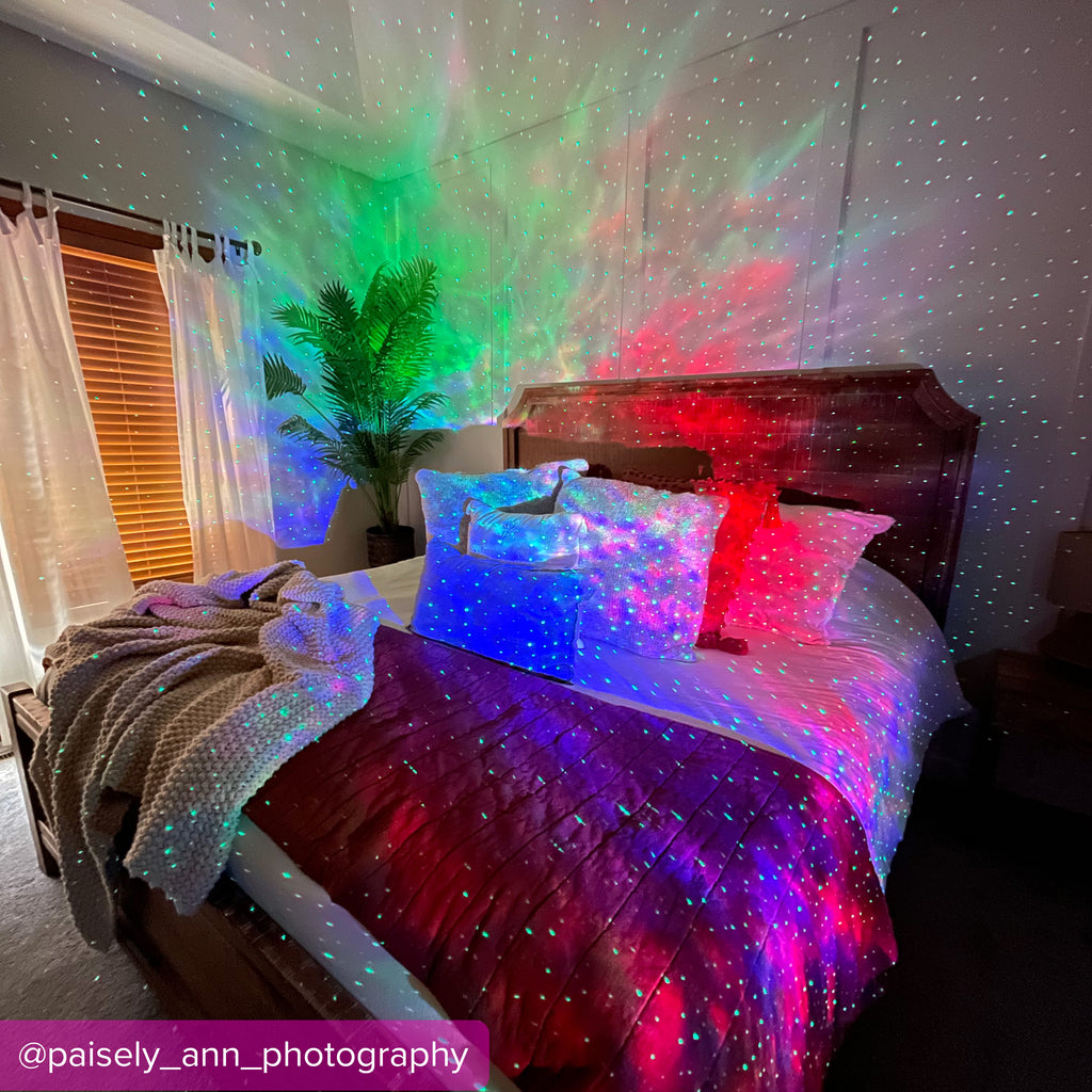 sky lite 2.0 multicolor lighting in bedroom by paisley ann photography