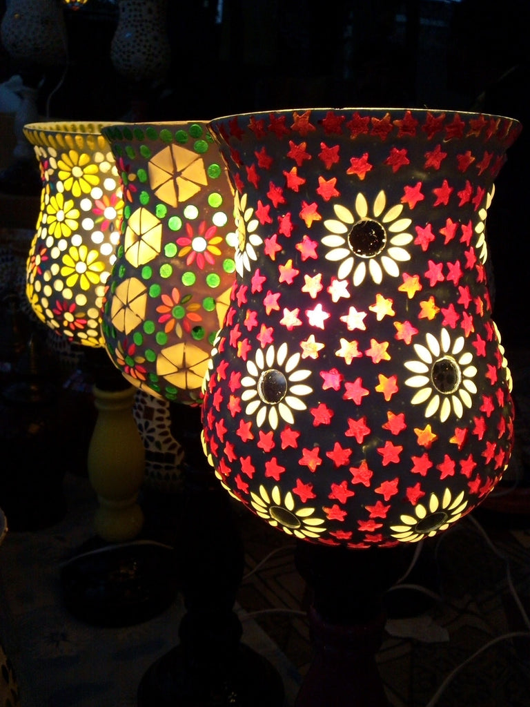 colorful lampshades accent lighting