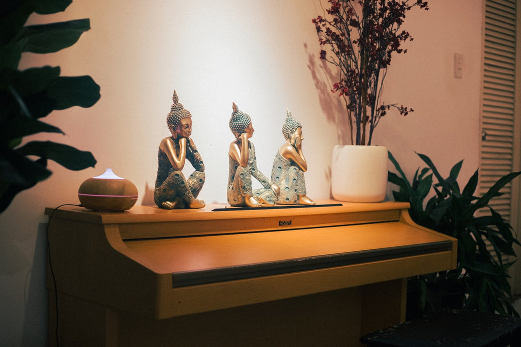 sculptures with accent lighting