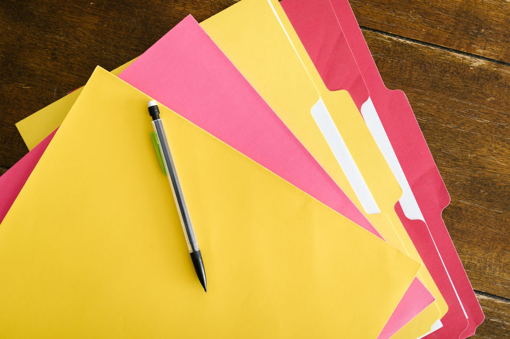 color-coded office supplies