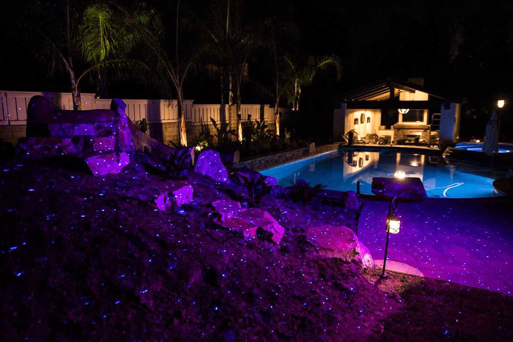 pool with blue laser lighting