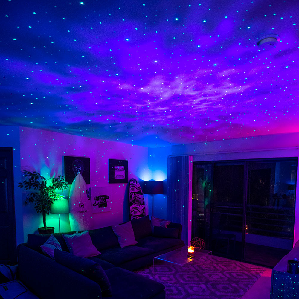 living room with multicolor lights