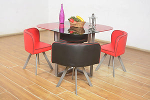 red glass 2 coloured dining table set