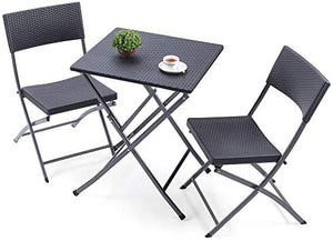 plastic rattan foldable table and chair