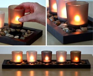 5 piece glass candle wax cup