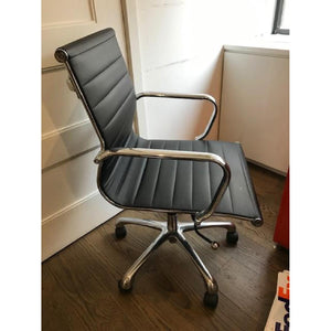 White/black mid back leather Chair