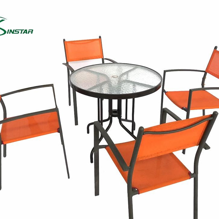 Glass table Outdoor dining set with orange chiars