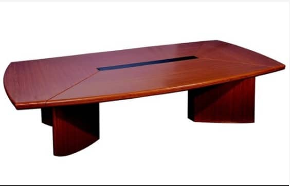 Oval wooden conference table