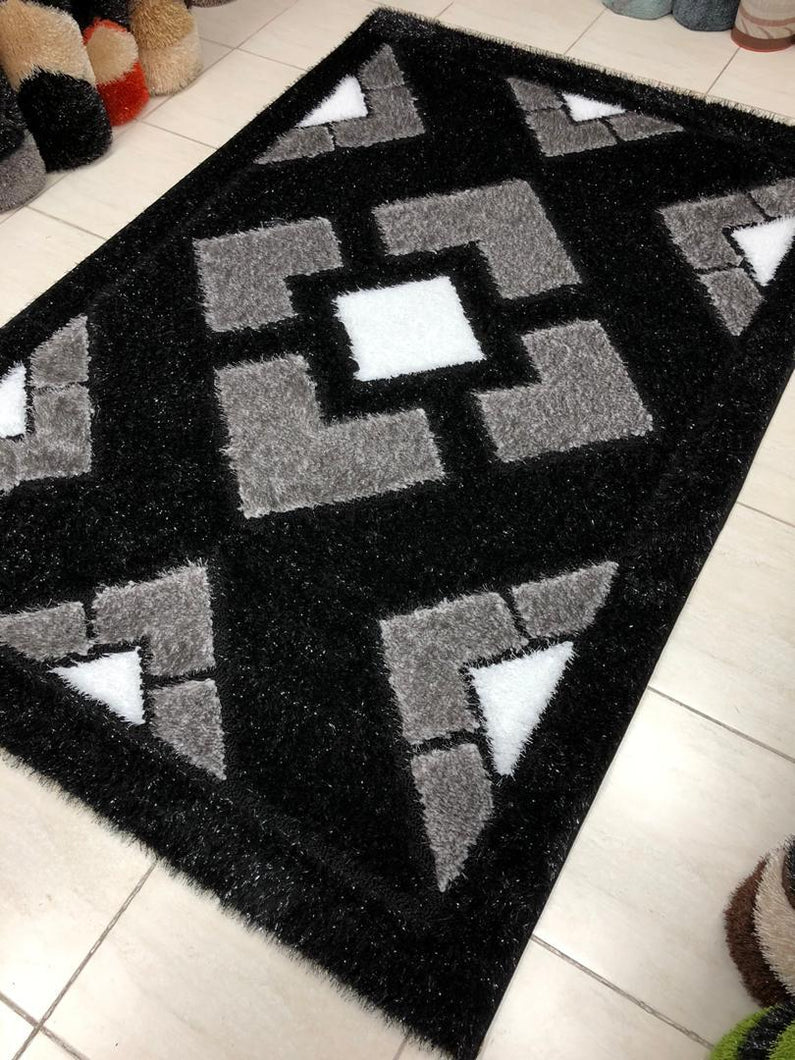 black and grey shaggy center rug