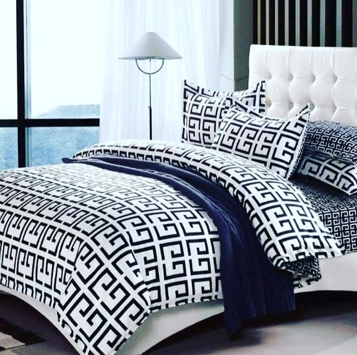 black white beautiful bedsheet set