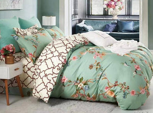Beautiful floral teal green american Bedsheet and Duvet