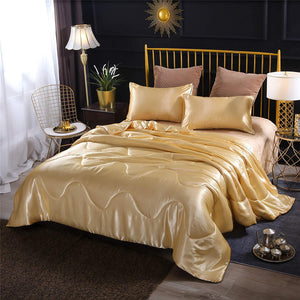 gold Satin Silky Soft Quilt bedding set