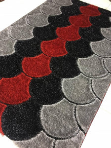 mushroom decorative center rug red