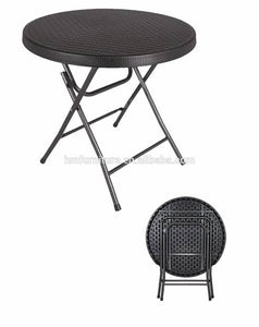 Rattan look Black foldable plastic table