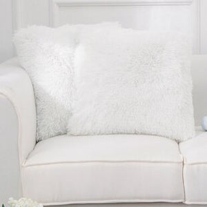 white Fur Throw Pillows