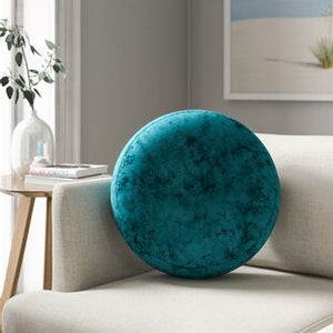 Round teal Suede Throw Pillows 2pcs