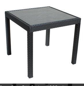 square glass rattan/cane table