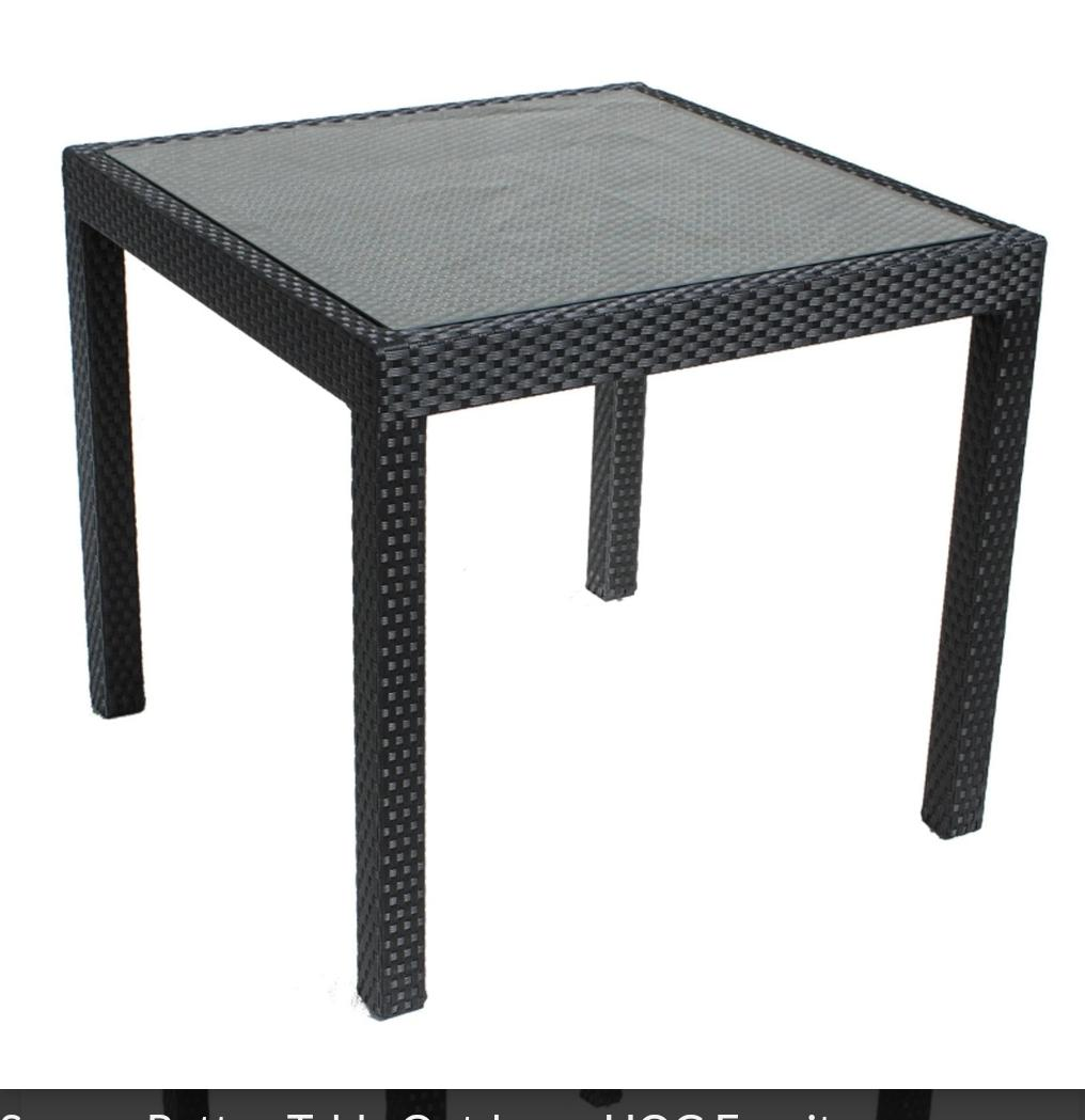 square glass rattan table