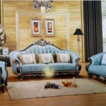Royal blue leather sofa603