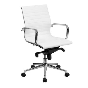 White mid back swivel leather chair