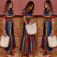 Short Sleeve Rainbow Striped Printed Vacation Dress