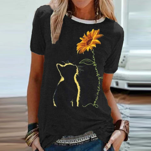 Sunflower Cat Print Short Sleeve T-shirt