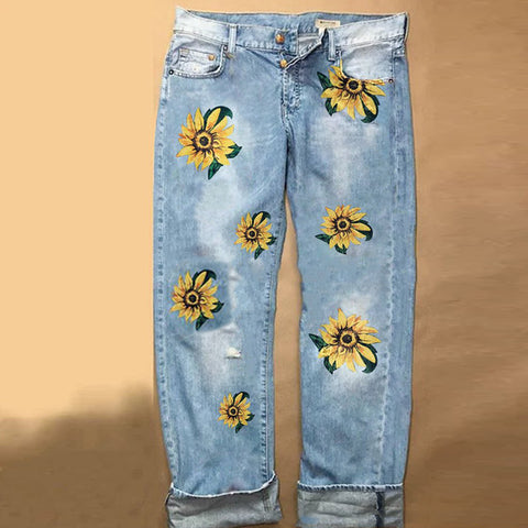 Sunflower Printed Denim Trousers