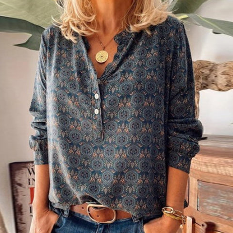 Long Sleeve Casual Shirt with Printed Stand Collar