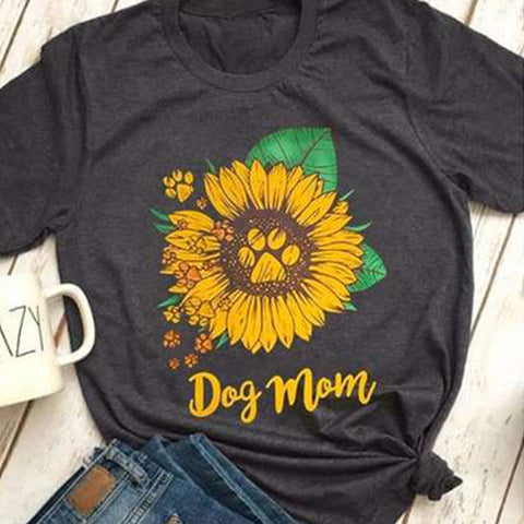 Sunflower Print Short Sleeve Round Neck T-shirt
