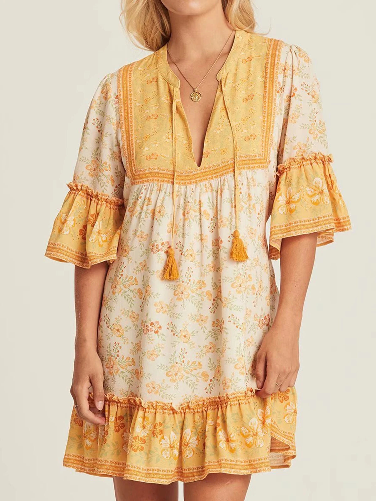 Bohemian Short Sleeve Print Dress