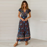 Bohemian V-neck Beach Vacation Lace-up Print Maxi Dress