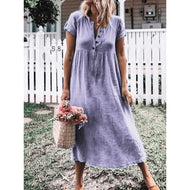 Solid Color Short Sleeve Round Neck Casual Dress
